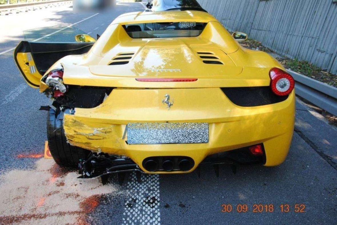 Wypadek na słowacji - Ferrari, Porsche, Mercedes